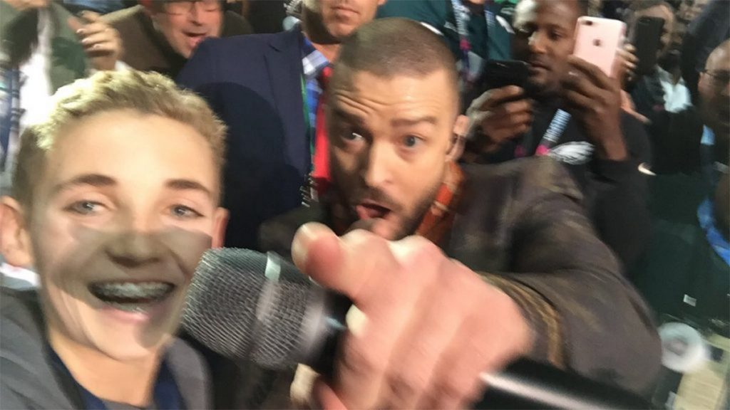 Ryan McKenna takes a selfie with Justin Timberlake during the Super Bowl Halftime Show on February 4, 2018 (Ryan McKenna)