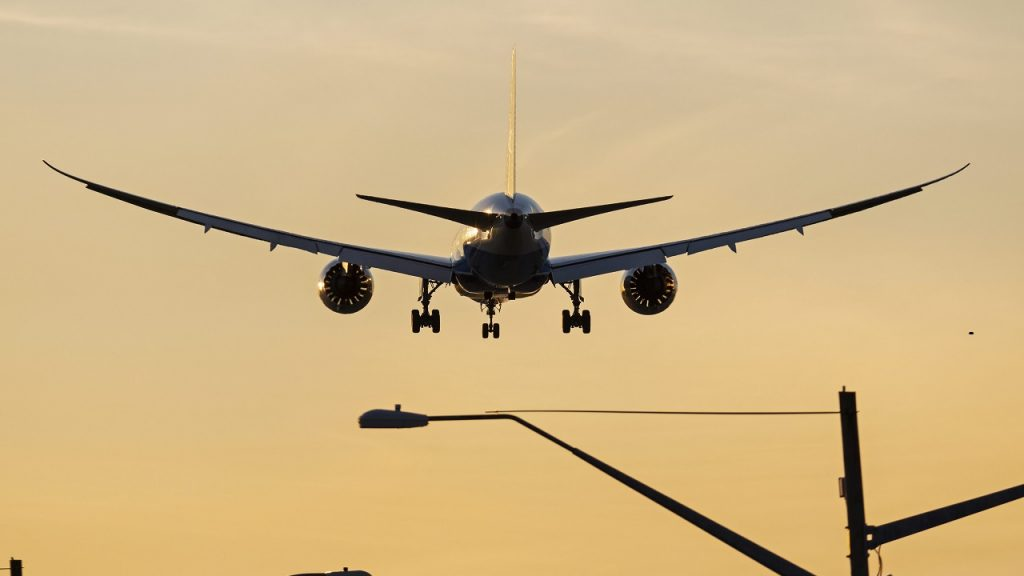 A XiamenAir (Xiamen Airlines) Boeing 787-8 Dreamliner (B-2763) wide-body jet airliner, silhouetted by the setting sun, on short final approach for landing at Vancouver International Airport, Richmond, B.C. on Thursday, October 4, 2018. THE CANADIAN PRESS IMAGES/Bayne Stanley